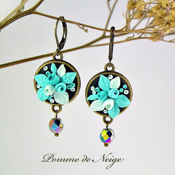 Turquoise Floral Earrings applique Polymer clay jewelry Gift Romantic Jewelry Small Earrings Delicate Earrings