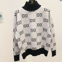Gucci Fashion Casual Women High Neck Long Sleeve Double G Pullover Sweater White G