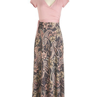 ModCloth Long Short Sleeves Maxi Come What Paisley Dress