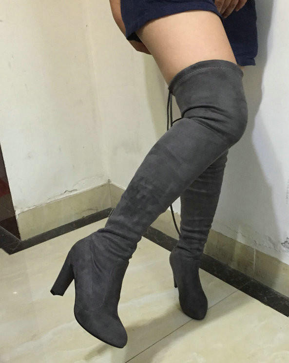 596def7197c8 Women Stretch Faux Suede Slim Thigh High from AWASHDRESS