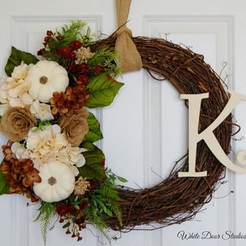 Fall Monogram Wreath, Front Door Wreath,Initial Wreath, Fall Wreath, Personalized Wreath, Hydrangea Pumpkin Wreath, Autumn Wreath