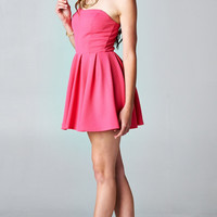 PINK PLEATED TUBE DRESS