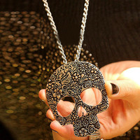 Special Antique Brass Skull Necklace Jewelry Skeleton Pendant Link Chain Women Classical NW