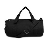 BLACK COTTON CANVAS DUFFLE BAG