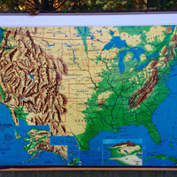 Vintage 1960's Weber Costello Pull Down US Map