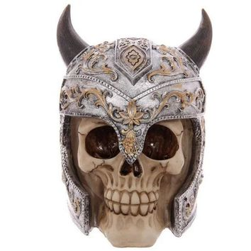 DCCKL3Z Horns Skull Knight Decoration Scary Skeleton Skull Resin Ornaments Mask Halloween Skull Bone Party Home Bar Table Decoration