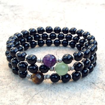 Soothing, Onyx Mala Bracelet Stack with Amethyst, Tiger's Eye and Aventurine Guru Beads