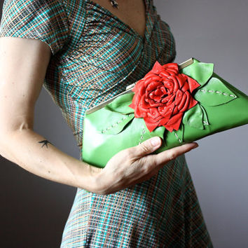 Leather clutch with red floral embellishment ,  clutch purse, green leather purse, leather bag, leather handbag, Italian lambskin