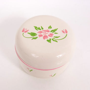 Vintage 1985 Teleflora Pink Tulip Design Trinket Box Jewelry Box with Lid Made in Japan