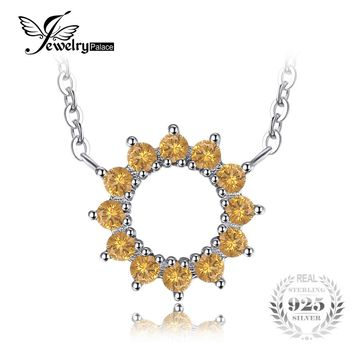 JewelryPalace Classic Round 0.5ct Created Orange Sapphire Chains Necklaces For Women Solid 925 Sterling Silver Fine Jewelry 2017