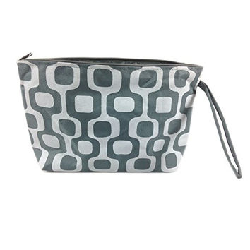 Colorful Geometric Floral Cosmetic Bag - 10-3/4-in (Grey & White Squares)