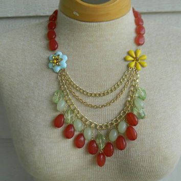 Statement Necklace Coral Red Mint Green Beads Multi Strand Chunky Blue and Yellow Flower Anthropologie Inspired Bohemian Style