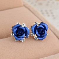 Delicate Blue Rose Rhinestone Earrings