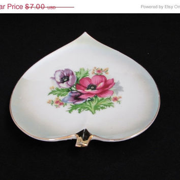 Vintage Heart Trinket Tray Made in Japan Porcelain Pin Tidbit Plate