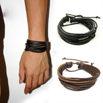 Promotion 2pcs/lot  Wrap Multilayer Charm Genuine Leather Bracelet with Braided Hemp Rope Unisex for Men & Women Gift Adjustable