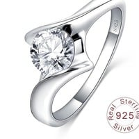 LZESHINE Wedding Bands Rings Real Pure 925 Sterling Solid Silver Jewelry AAA Cubic Zirconia Inlayed Party Aneis SRI0052