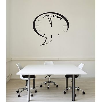 Vinyl Wall Decal Time to Learn Classroom Quote School Clock Interior Stickers Mural (ig5772)