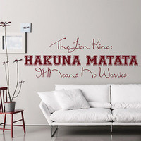 Wall Decal Quote The Lion King Hakuna Matata Decals Nursery Room Decor Art MR636