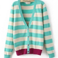Rayon Stripe Mixed Colors Long Sleeve V-Neck Single-Breasted Sweater  style 819my004