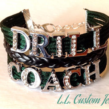 3 Strand - DRILL COACH Rhinestone on Braided Cord - Customize w/a different color or Words, like team name, studio name, name of person, etc