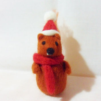 Needle Felted Christmas Squirrel - Christmas Ornament - 100% Merino wool - needle felted squirrel - wool felt squirrel