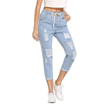 Women Pants Casual Trousers for Ladies Blue Ripped Mid Waist Drawstring Skinny Denim Calf Length Jeans