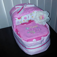 Thank heavens for little girls diaper cake bassinet! Perfect for any expecting mother.