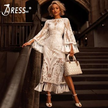 INDRESSME Women Lace Flare Long Sleeve 2018 New O Neck Sexy Sequined Mesh Tassel Club Party Mid-Calf Dresses For Lady Fashion