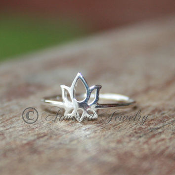 Lotus flower ring in sterling silver by ArmoredJewelry on Etsy