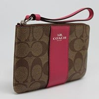 Coach Signature Zip Wallet Clutch Bag - Pink / Khaki