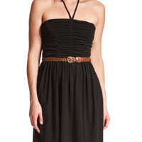 Ruched-Top Halter Dress