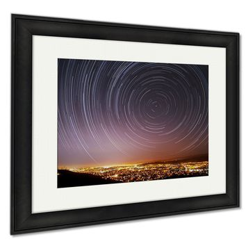 GP Framed Prints San Jose Star Trails Wall Art Decor Giclee Photo Print In Black Wood Frame, Soft White Matte, Ready to hang 16x20 art