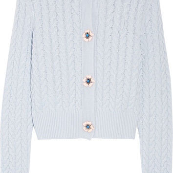 Miu Miu - Embellished cable-knit cashmere cardigan