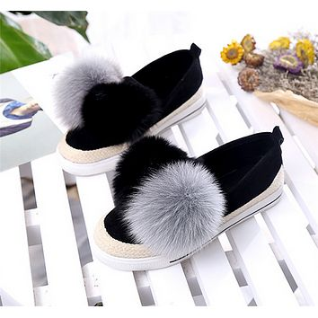 Women Casual Multicolor Weave Plush Ball Loafer Shoes Flats Shoes