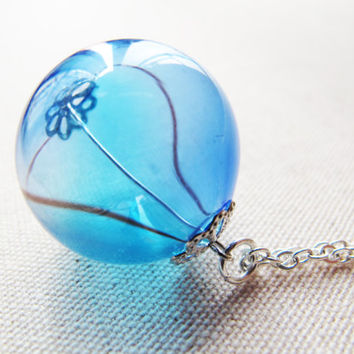Glass bead necklace, Pacific Ocean, breezy charm, Glass Ball Pendant, Hollow Glass Ball charm, Glass blowing, glass sphere charm