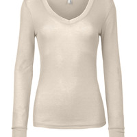 LE3NO Womens Lightweight Long Sleeve V Neck Thermal Shirt