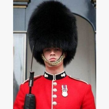 Adults black british soldier hat british guard cap royal soldier cap with fur winter fur hat english soldier hat