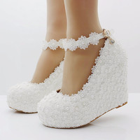 White lace wedges shoes pumps high heels wedges heels platform wedges women shoes lace and pearls wedding shoes sweet cute girls