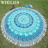 Polyester Bohemian Round Beach Towel Indian Mandala Throw Blanket Bedspread Picnic Cloth Yoga Mat Home Room Dorm Decoration
