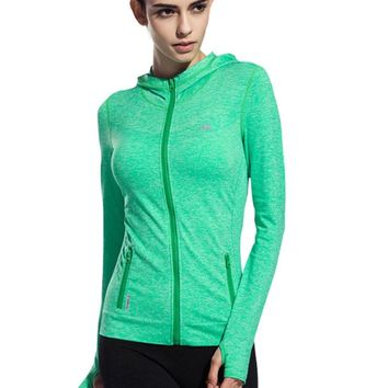 BESGO Women's Quick-dry Gym Fitness Running Jogging Yoga Zip-up Jacket Seamless Outwear Woman Sports Hooded Sweatshirt Size S-L