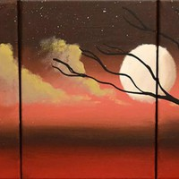 """ARTFINDER: triptych 3 panel wall art colorful images """"Moon Dance"""" 3 panel canvas wall abstract canvas pop abstraction 27 x 12"""" by Stuart Wright - The original paintings for sale """"Moon Dance"""" mo..."""