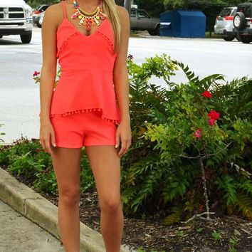Stopping Traffic Romper: Neon Pink