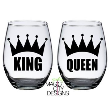 King and Queen Stemless Glasses 21 OZ