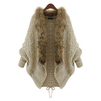 WAQIA 2015 Antumn Winter New European And American Shawl Women Plus Size Thick Knited Fur Collar Batwing Sweater = 1920550468