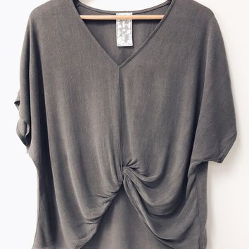 V-Neck Knot Top, Charcoal