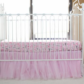 Pink Tulle Gathered Skirt | Paris Baby Bedding