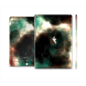 The Dark Green Glowing Universe Skin Set for the Apple iPad Air 2