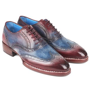 Paul Parkman Goodyear Welted Two Tone Wingtip Oxfords Blue & Bordeaux Shoes(ID#27LD77)