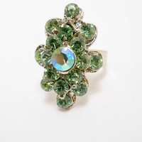 Vintage Jewelry Silver Tone Green Rhinestone Adjustable Cocktail Ring Size 6.5