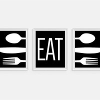Kitchen Art Print 'Eat' Quote, Fork Spoon Knife Art Set of Three 5x7, 8X10, 11x14 Black & White Typography, Kitchen Decor, Wall Decor
